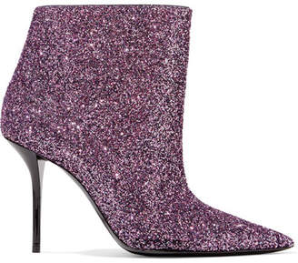 Saint Laurent Pierre Glittered Leather Ankle Boots - Lavender