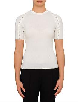 Alexander Wang Crewith Neck Tee With Splittable Snap Sleeves