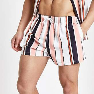 River Island Coral stripe swim shorts