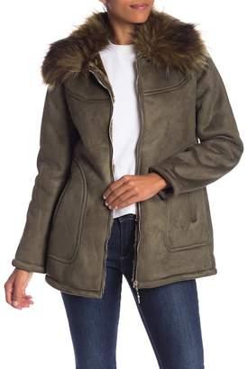 Jessica Simpson Faux Suede Faux Fur Trimmed Jacket
