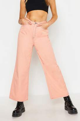 boohoo High Waist Contrast Stitch wide Leg Jean