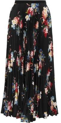 Erdem Nesrine Pleated Floral-Print Crepe De Chine Midi Skirt