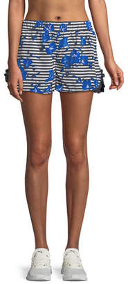 Kate Spade Hibiscus-Print Striped Frill Active Shorts