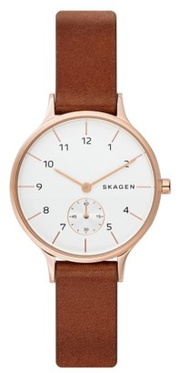 Women's Skagen Anita Leather Strap Watch, 34Mm $155 thestylecure.com