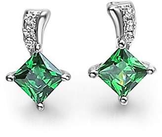 L・I・U Fei Liu Fine Jewellery Fei Liu Radiance Synthetic Emerald Stud Earrings Best Gift 925 Sterling Silver Gift Box Packed