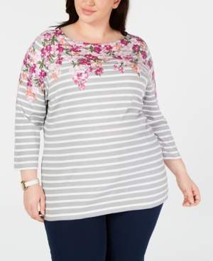 Karen Scott Plus Size Mixed-Print 3/4-Sleeve Top, Created for Macy's