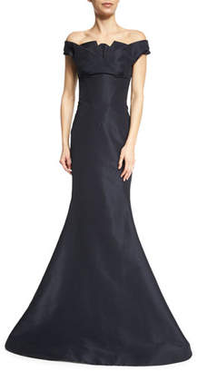 Zac Posen Pleated Off-The-Shoulder Evening Gown, Midnight $5,990 thestylecure.com