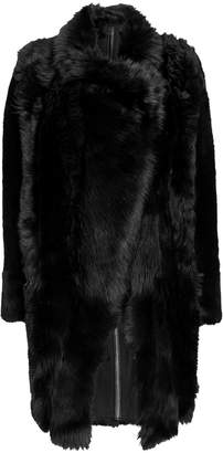 Yves Salomon Reversible Black Mid-Length Coat