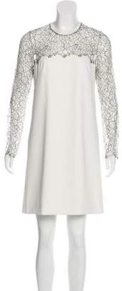 Lela Rose Lace Paneled Dress