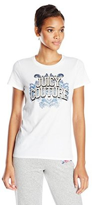 Juicy Couture Black Label Women's Logo Jc Collegiate Short Sleeve Tee $78 thestylecure.com