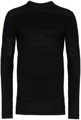 Rick Owens knitted crew neck panel jumper