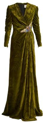 Gucci V Neck Embellished Velvet Gown - Womens - Green