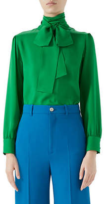 Gucci Button-Back Long-Sleeve Scarf-Neck Silk Satin Georgette Blouse
