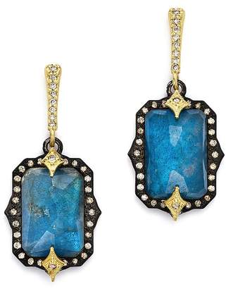 Armenta 18K Yellow Gold & Blackened Sterling Silver Emerald-Cut Labradorite Triplet & Champagne Diamond Drop Earrings