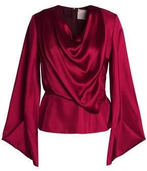 Roksanda Draped Two-tone Crinkled Silk-satin Blouse