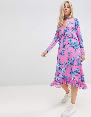 Asos Design DESIGN Slinky Midi Dress With Choker Neck And Frill Details In Floral Print