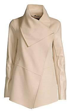 Mackage Women's Leather Sleeve Wool Coat