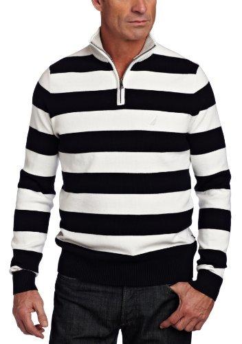 Nautica Men's Milano Zip Stripe Sweater