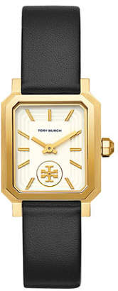 Tory Burch 27mm Robinson Leather Watch w/ Moving Logo, Black