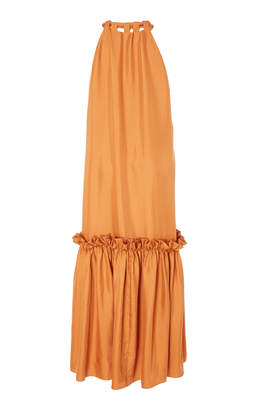 Tibi Mendini Long Tie-Neck Dress