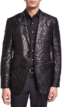 Etro Palm-Print Jacquard Silk Evening Jacket, Black
