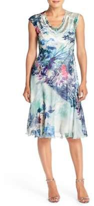 Komarov Print Chiffon A-Line Dress (Regular & Petite)