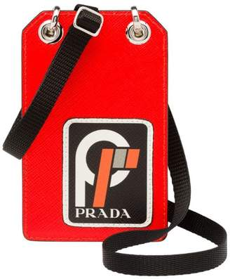 2fcd87f75dae10 Prada Saffiano leather badge holder with logo patch