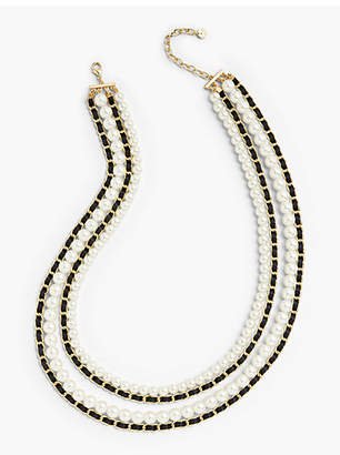 Talbots Ribbon and Pearls Layered Necklace