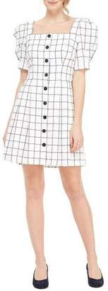 Gal Meets Glam Square-Neck Button-Up Puff-Sleeve A-Line Grid Dress