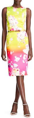 Ralph Lauren Tuscon Ombre Floral-Print Cocktail Dress