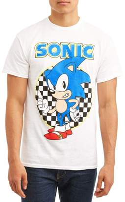 Gaming Sonic Men's Sonic The Hedgehog Ready To Run Checkered Short Sleeve Graphic T-shirt With Sonic, up to Size 3XL