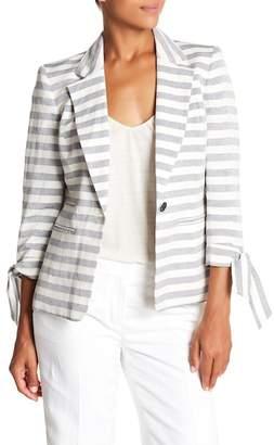Nine West Striped Linen Blend Blazer