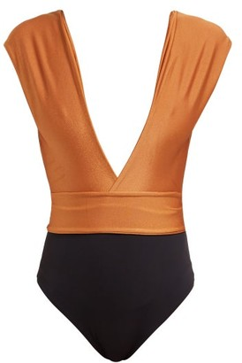 Haight Roge Plunge Colour Block Swimsuit - Womens - Black Orange