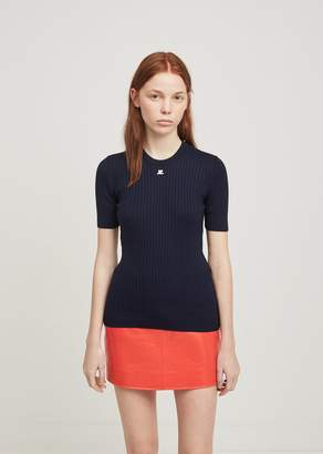 Courreges Round Neck Short Sleeve Pullover Navy