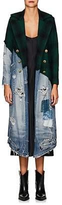 Greg Lauren Women's Denim & Plaid Wool Long Coat