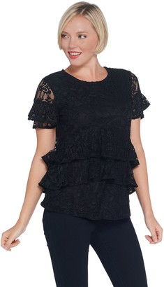 Du Jour Tiered Knit Lace Top with Back Keyhole Detail
