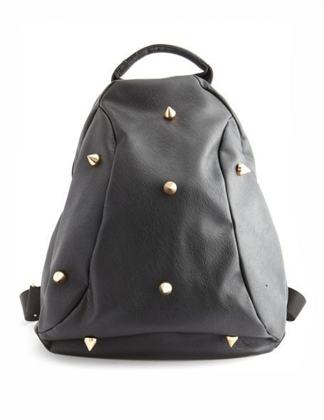 Charlotte Russe Spiked Faux-Leather Backpack