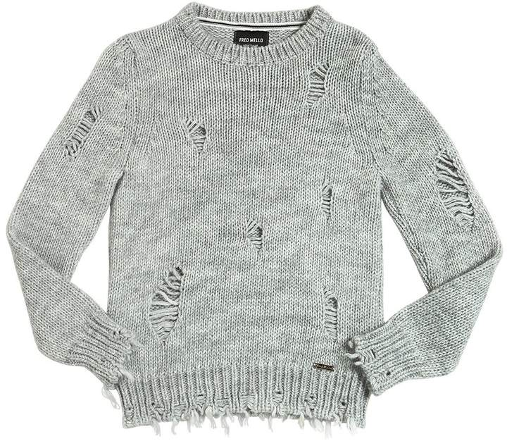 Destroyed Tricot Wool Blend Sweater