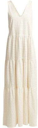 Adriana Degreas Porto V Neck Tiered Cotton Dress - Womens - White
