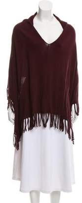 Minnie Rose Fringe-Trimmed V-Neck Poncho w/ Tags