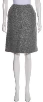 Valentino Textured Knee-Length Skirt Grey Textured Knee-Length Skirt