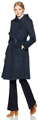 Cole Haan Women's Luxury Wool Asymmetrical Coat with Oversized Shawl Collar