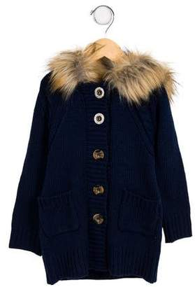 Imoga Girls' Faux Fur-Trimmed Hooded Cardigan w/ Tags