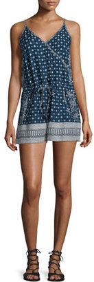 French Connection Castaway Drawstring-Waist Romper, Indian Ocean/Multi $118 thestylecure.com