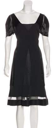 Miu Miu V-Neck Midi Dress Black V-Neck Midi Dress