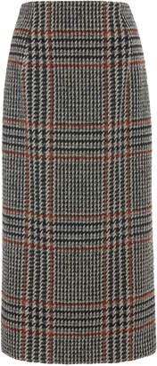 Oscar de la Renta Plaid Wool-Blend Midi Skirt