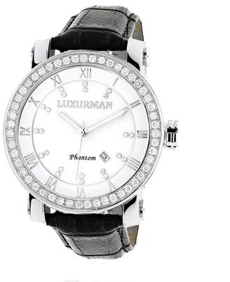 Mother of Pearl Luxurman Phantom 2356 Stainless-Steel Quartz 4ct Diamond White Dial Mens Watch