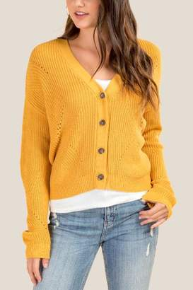 francesca's Jaime Button Down Cardigan - Marigold