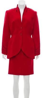 Thierry Mugler Wool Embellished Skirt Set