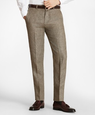 Brooks Brothers Regent Fit Houndscheck Linen Trousers
